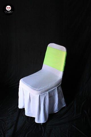 Kursi futura cover putih + pita hijau