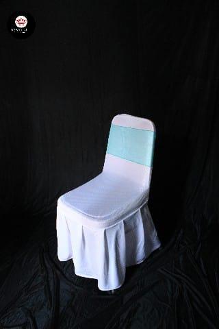 Kursi futura cover putih +pita cyan